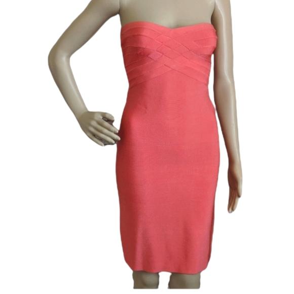 HERVE LEGER STRAPLESS BANDAGE FITTED DRESS